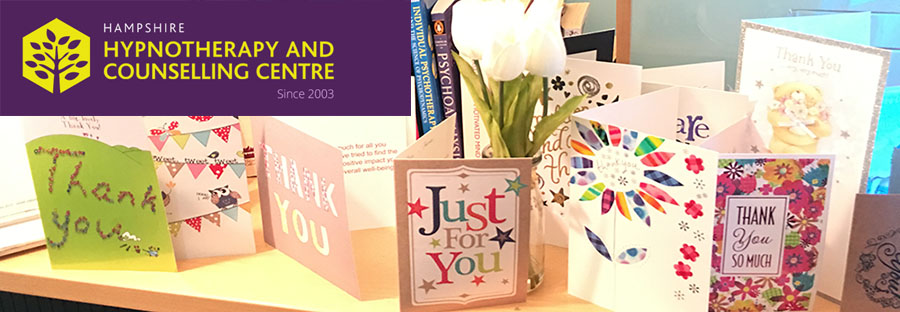 Thank you cards to therapists at the Hampshire Hypnotherapy & Counselling Centre